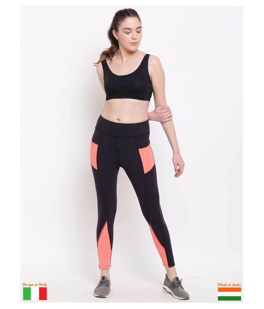 X-Cult Black,Orange Polyester Lycra Solid Tights