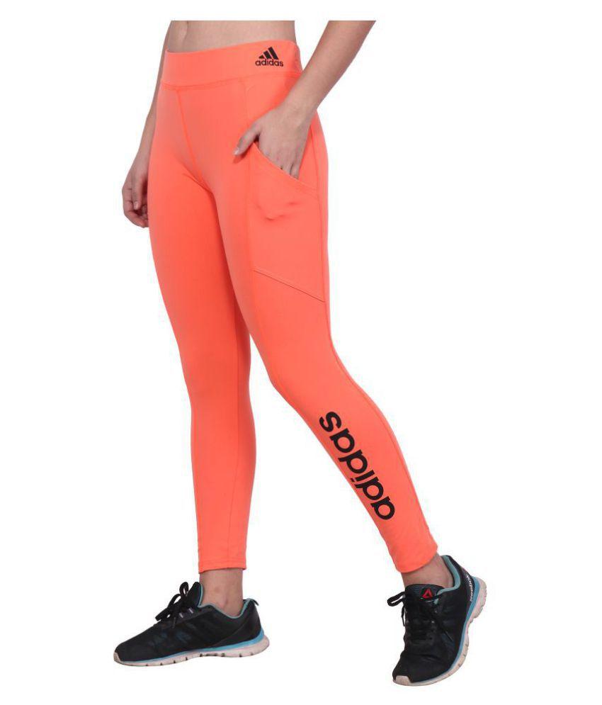 Adidas Orange Polyester Lycra Solid Tights