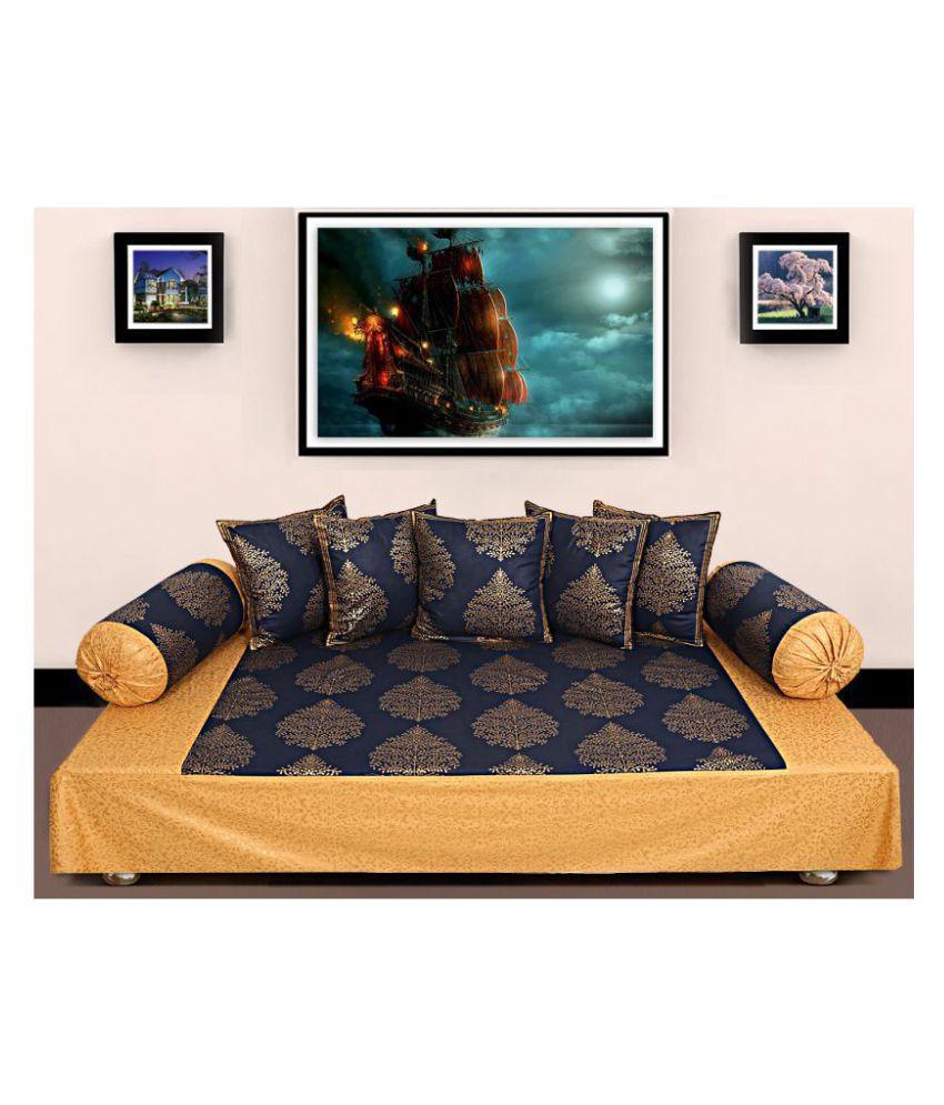 Jai Siyaram Printers Cotton Blue Abstract Diwan Set 8 Pcs