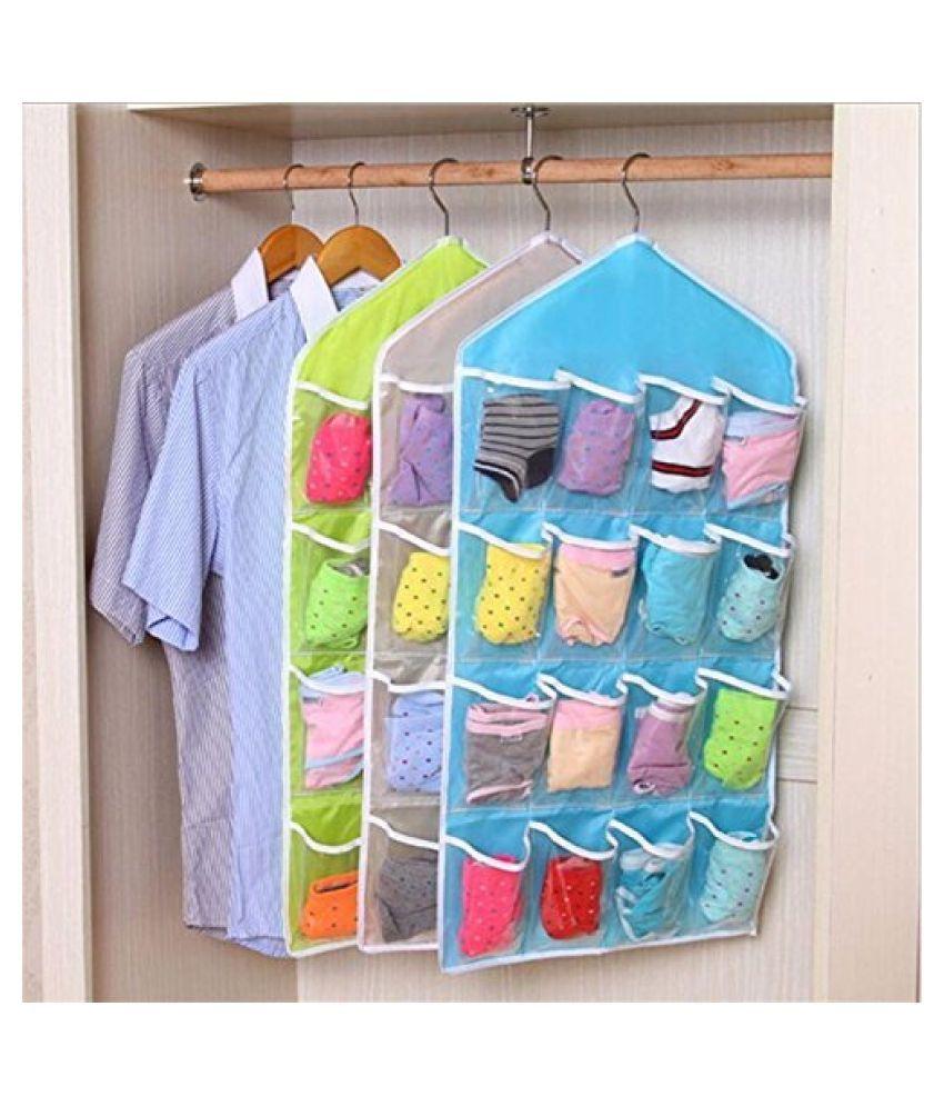 Everbuy  Wardrobe Mount Bag Hanging Wall Pocket Storage Organizer Case Transparent Foldable Closet, Space Saving Candy -2