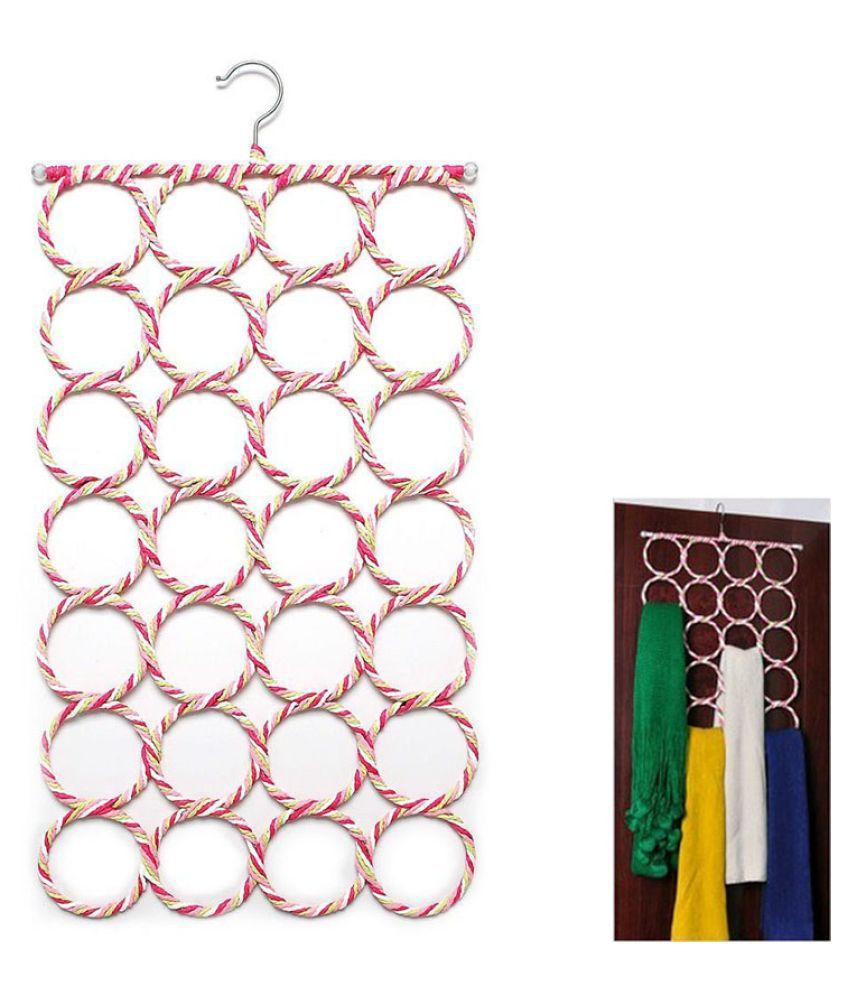 Everbuy 3 psc 28 Ring Round Folding Rope Dupatta Belt Shawl Tie Scarf Hanger Holder Organiser for Wardrobe