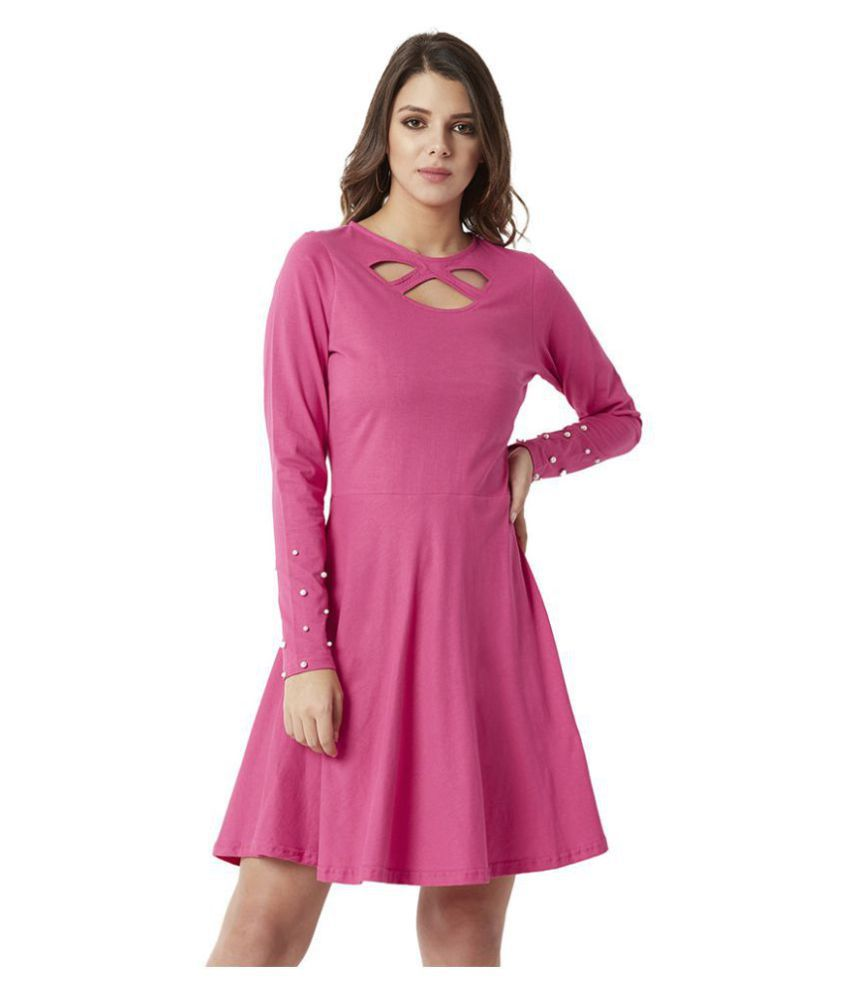 Miss Chase Cotton Pink Cut Out Dress