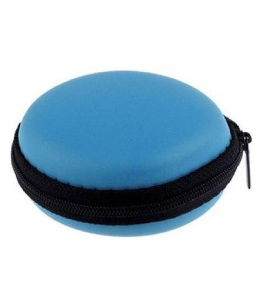 SR86 Leather Zipper Headphone Pouch  (BLUE)