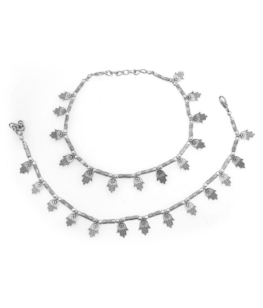Archi Collection Fashion Stylish Trendy Oxidised Silver Beaded Hamsa Hand Charm Anklet Set Payal Jewellery