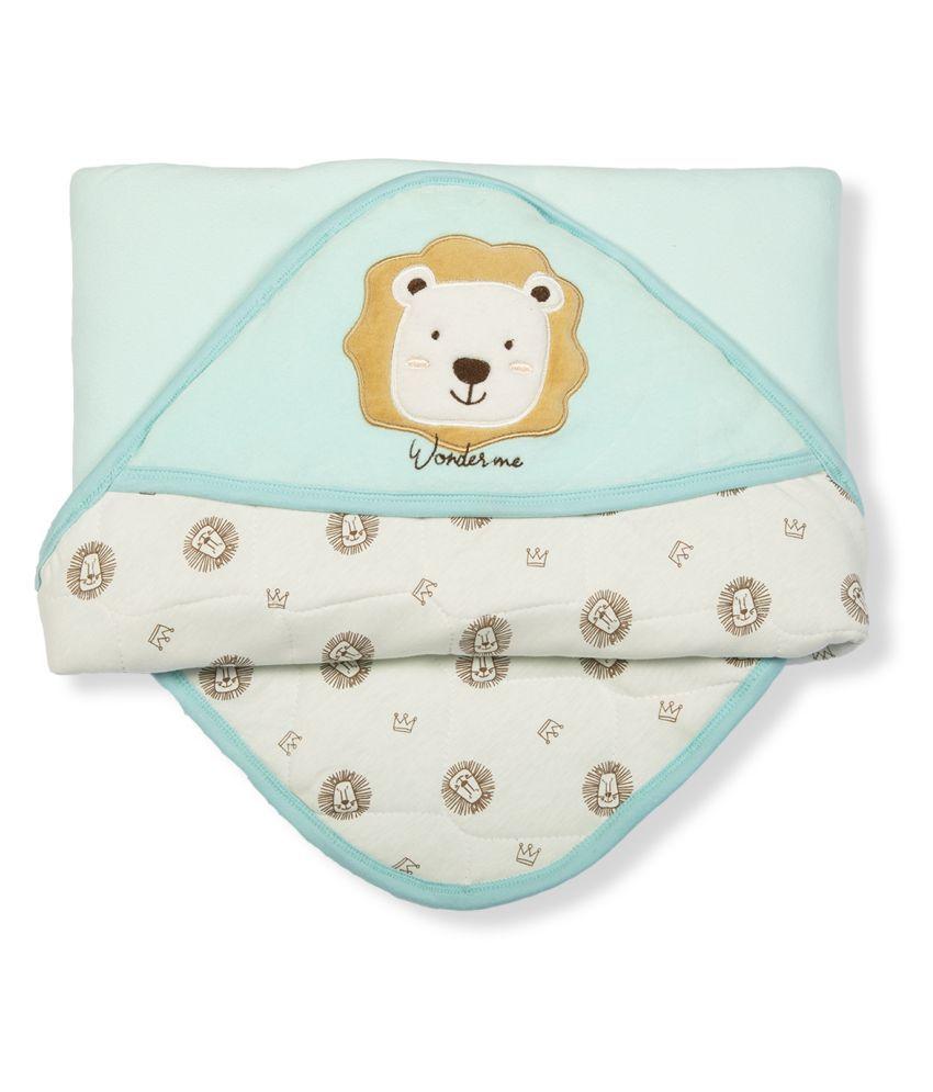 wonderME Blue Cotton Baby Wrap cum blanket ( 75 cm × 75 cm - 1 pcs)