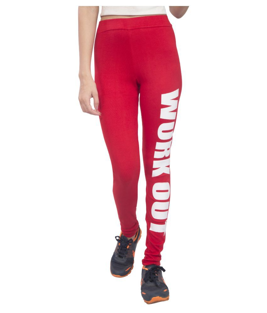 E Mart Red Cotton Lycra Printed Tights