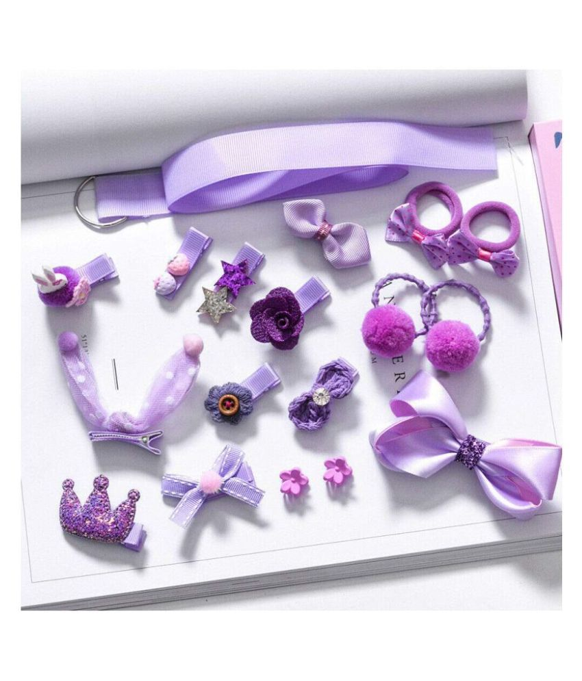 FOK Set of 18 Pieces Fancy Headwear Acessories For Baby Girls/Toddlers - Purple