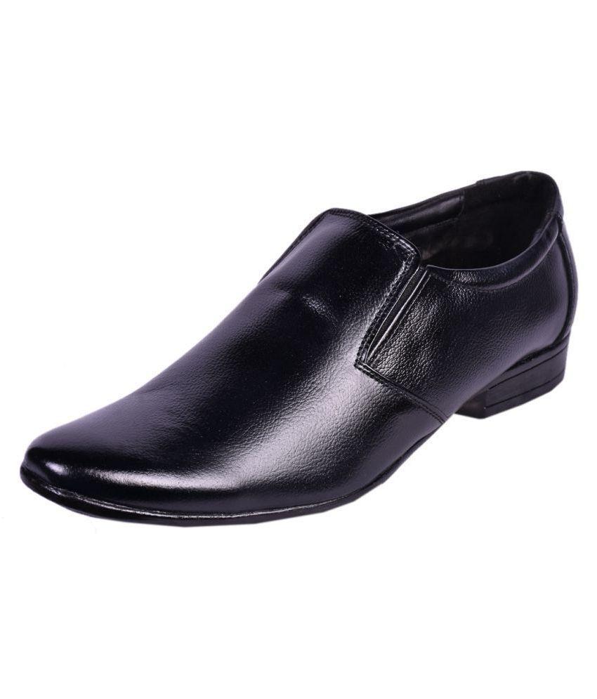 Somugi Slip On Genuine Leather Black Formal Shoes