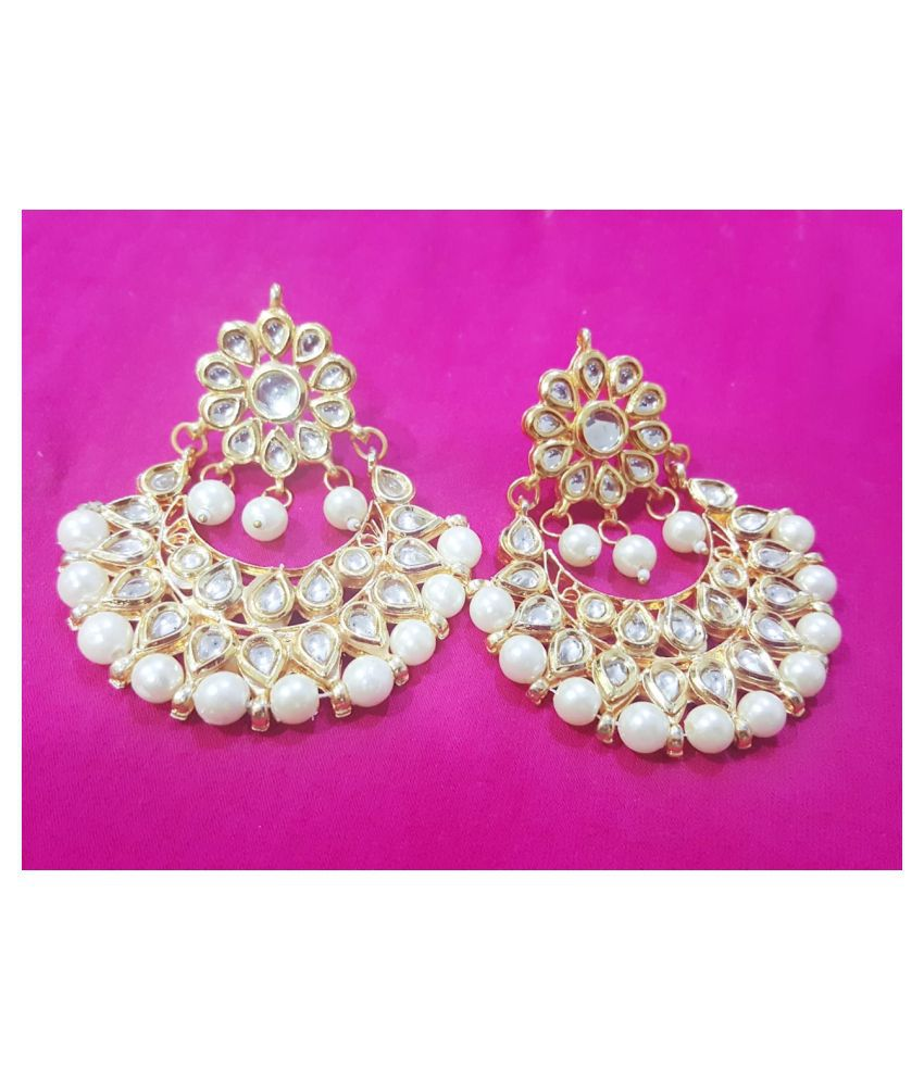 A2 Fashion Latest Design Stylish Antique Gold Plated Party Wear Traditional Kundan Pearl Chandbali Earrings for Women and Girls