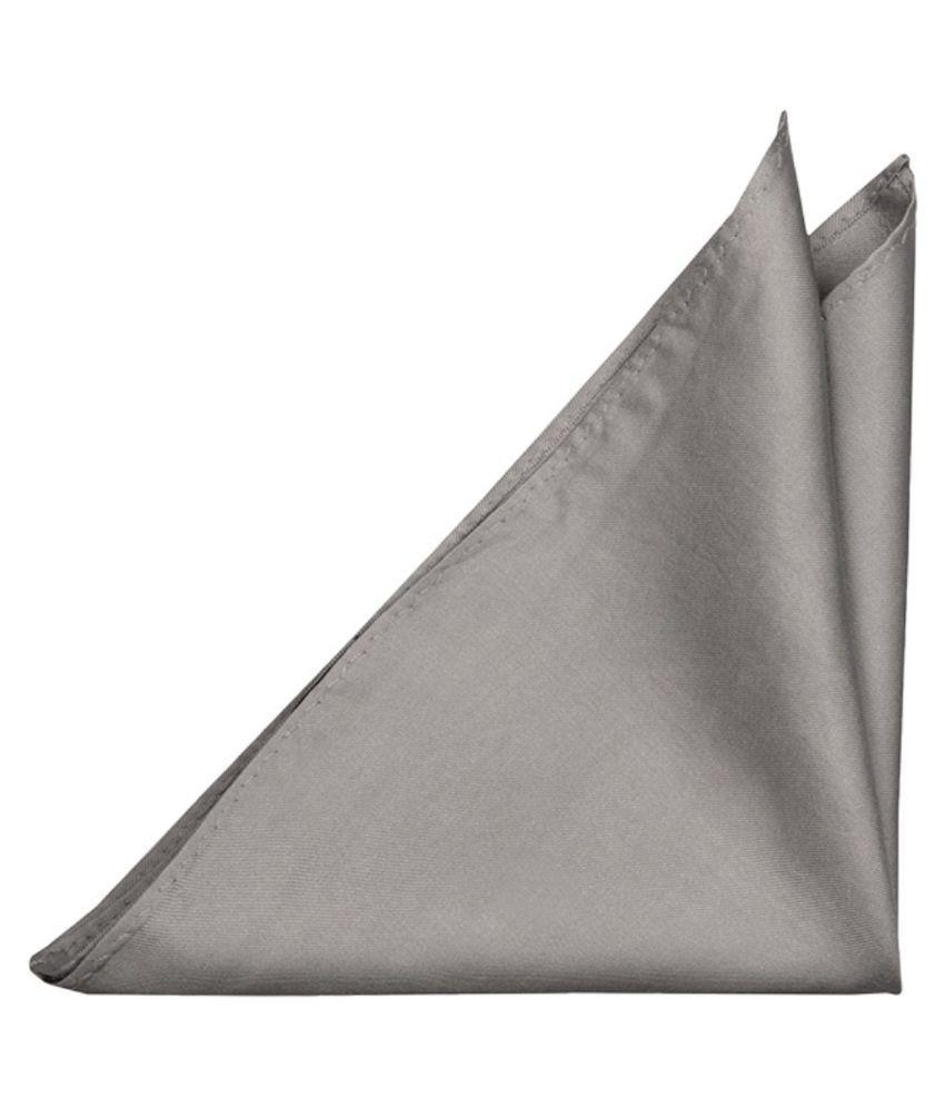 Voici France - Premium Pocket Square microfiber Men Plain Satin Wedding Handkerchief Pocket Square - Silver Color