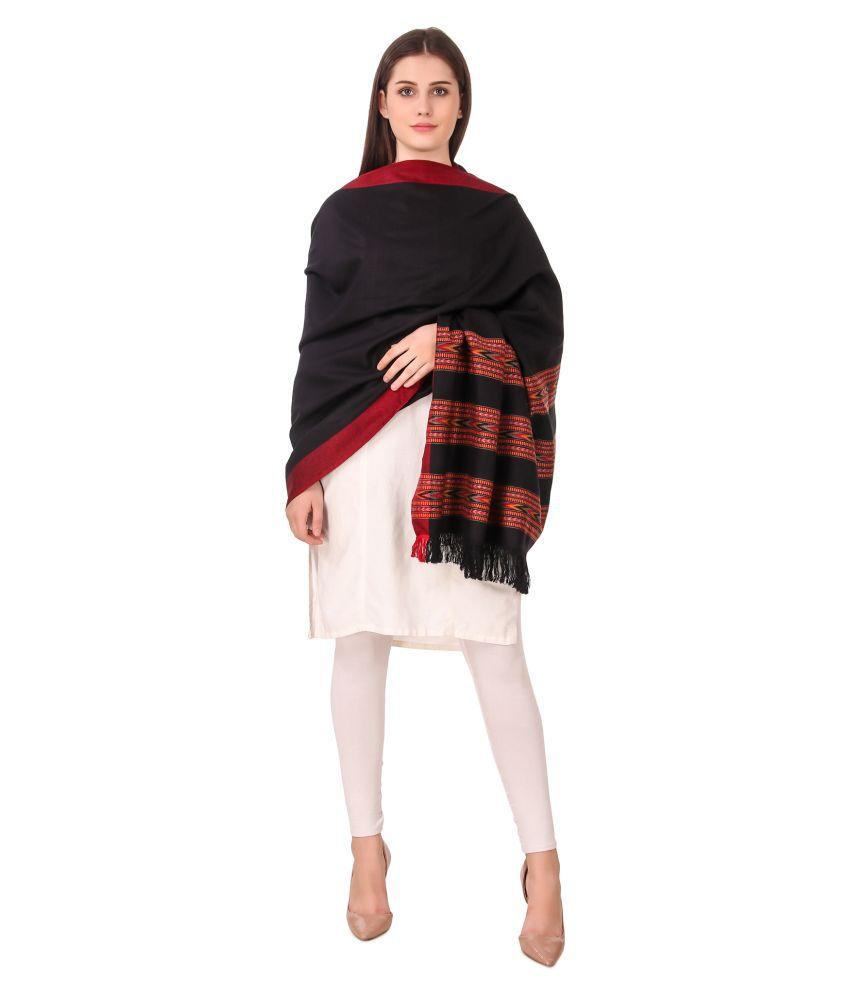 Bravezi Black Kashmiri Shawl