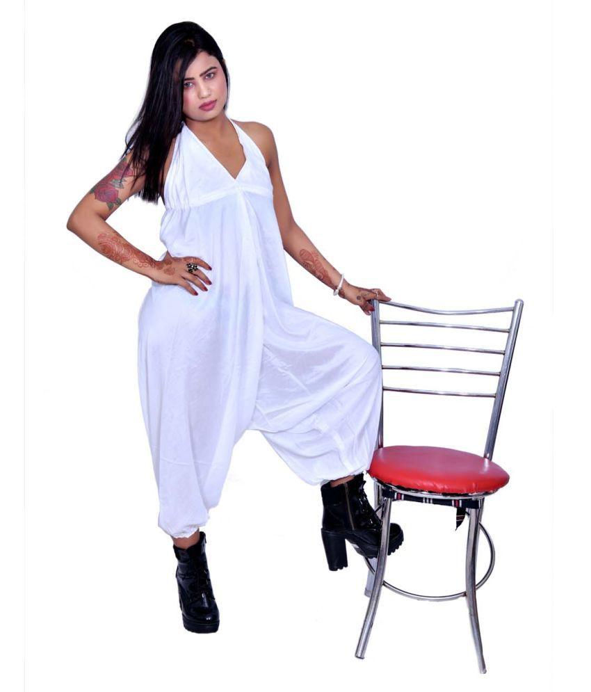 Balaji Garments White Rayon Jumpsuit