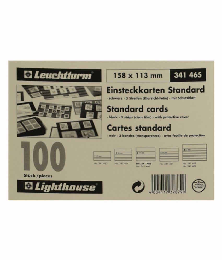 Lighthouse / Leuchtturm Standard Cards PVC- 3 Clear Strips with Cover Sheet- 100 per pack