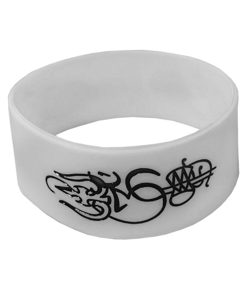 Men Style Trishul Damru White Silicon Bracelet
