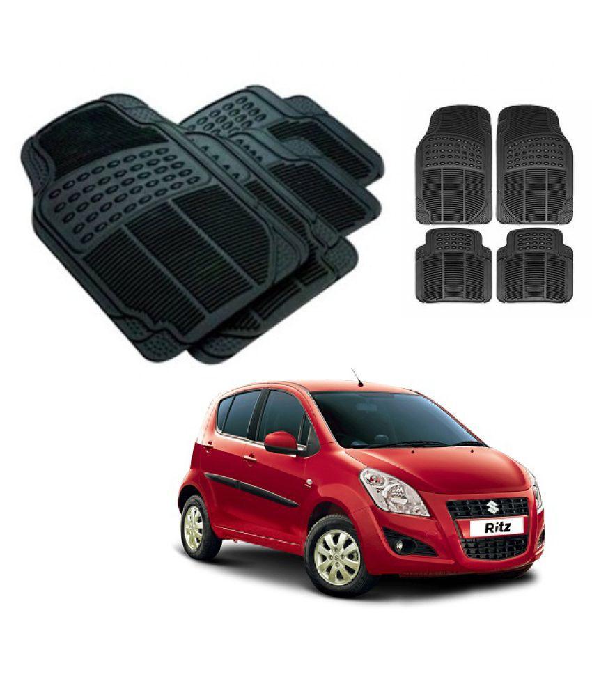 Neeb traders Car Rubber Foot  Mats for   Maruti Suzuki Ritz New (Set of 4, Black)