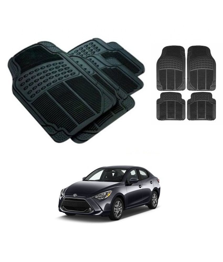 Neeb traders Car Rubber Foot  Mats for  toyota yaris New (Set of 4, Black)