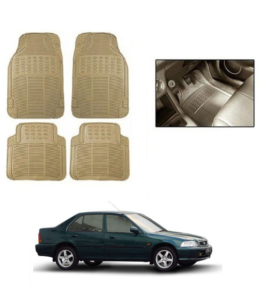 Neeb traders Car Rubber Foot  Mats for Honda City Old (Set of 4, Cream)