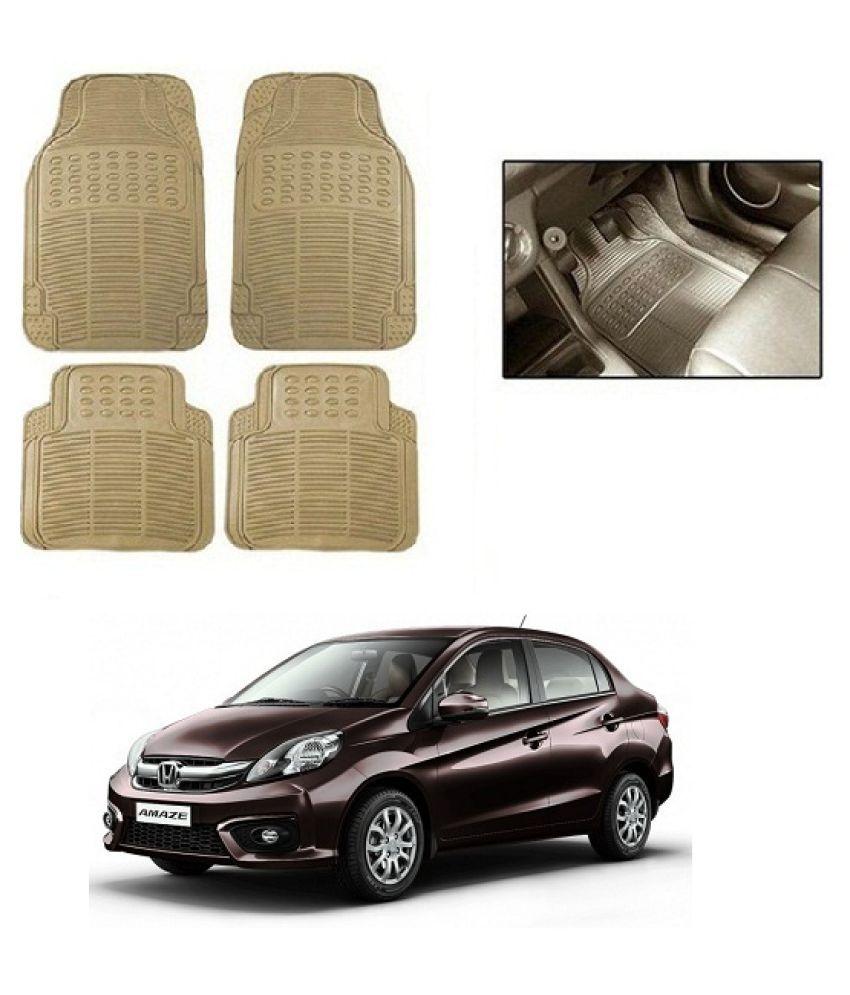 Neeb traders Car Rubber Foot  Mats for Honda Amaze  (Set of 4, Cream)