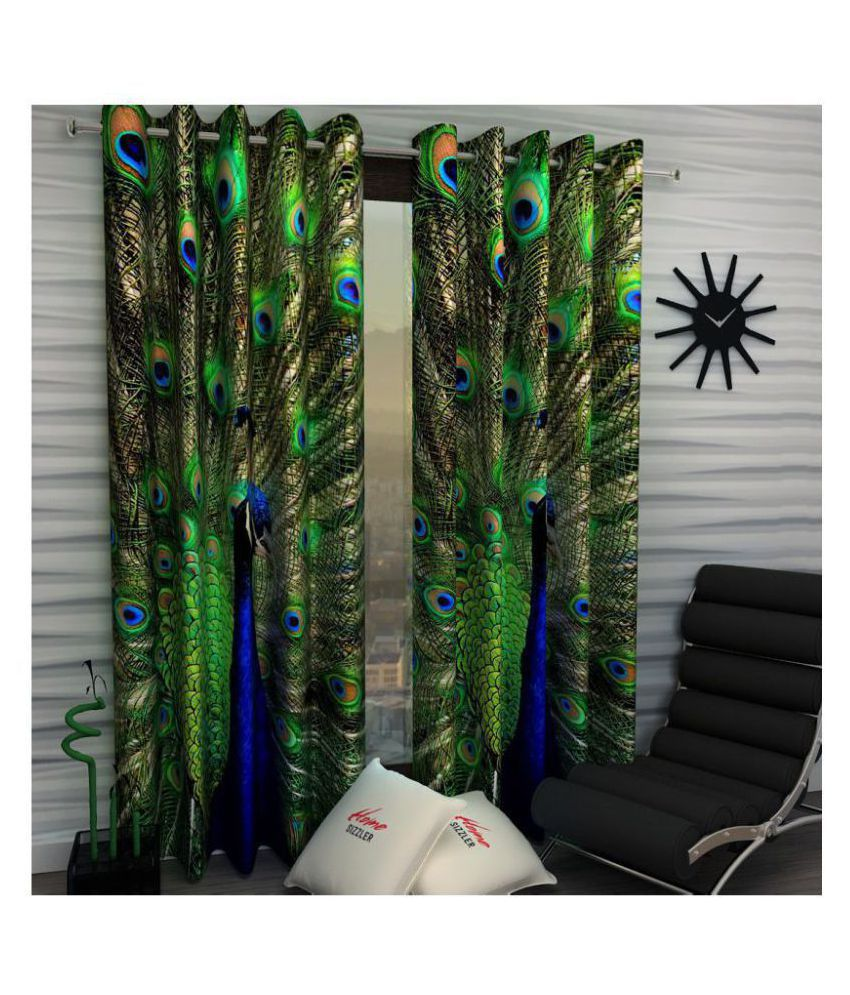 Home Sizzler Set of 2 Window Blackout Room Darkening Eyelet Polyester Curtains Green
