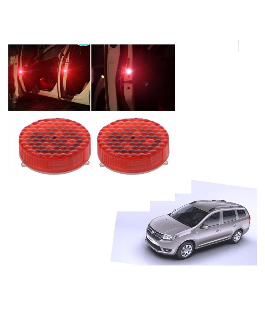 Auto Addict Waterproof 5 LED Wireless Car Door Warning Open Lights Indicator Decor Interior Flash Magnetic car led Lights for Anti Rear-End(RED) Free Batteries (2 Pair 4 pcs) For Mahindra Logan