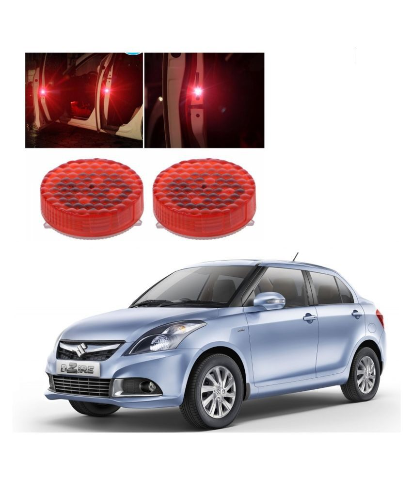 Auto Addict Waterproof 5 LED Wireless Car Door Warning Open Lights Indicator Decor Interior Flash Magnetic car led Lights for Anti Rear-End(RED) Free Batteries (2 Pair 4 pcs) For Maruti Suzuki Swift Dzire Type-2(2011-2017)