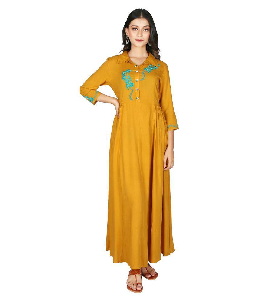 fabGlobal Rayon Yellow A- line Dress