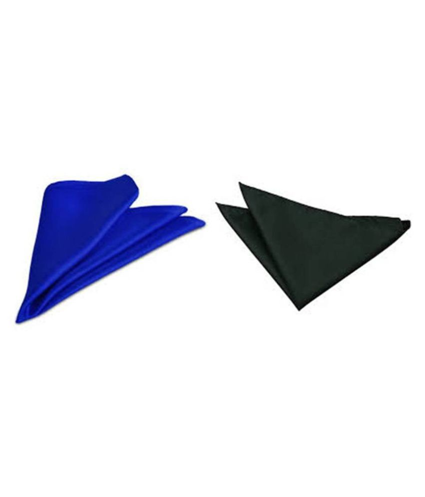 Voici France Royal Blue and Dark Grey satin Solid Pocket Square Combo Pack of 2