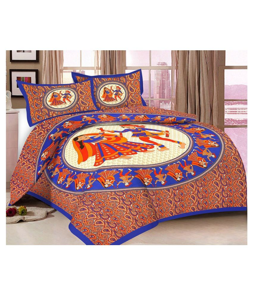 lazybees Cotton Double Bedsheet with 2 Pillow Covers