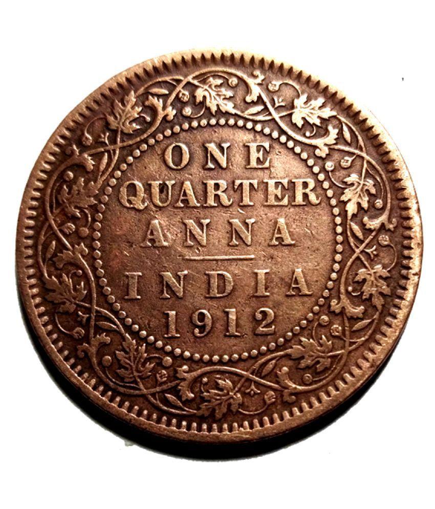 one quarter anna George V King Emperor 1912 Rare Coin