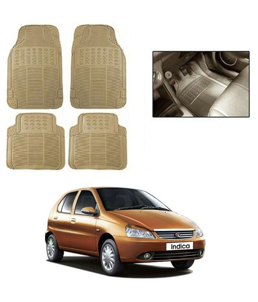 Neeb traders Car Rubber Foot  Mats for  Tata Indica (Set of 4, Cream)