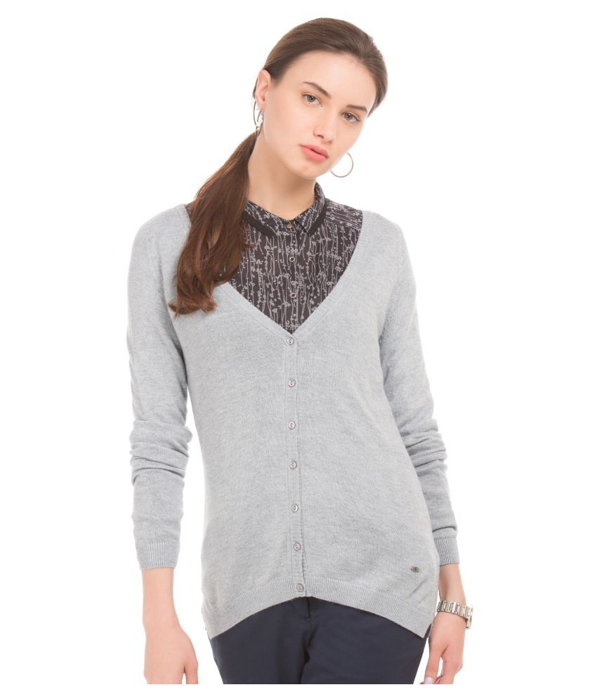 Arrow Viscose Grey Buttoned Cardigans