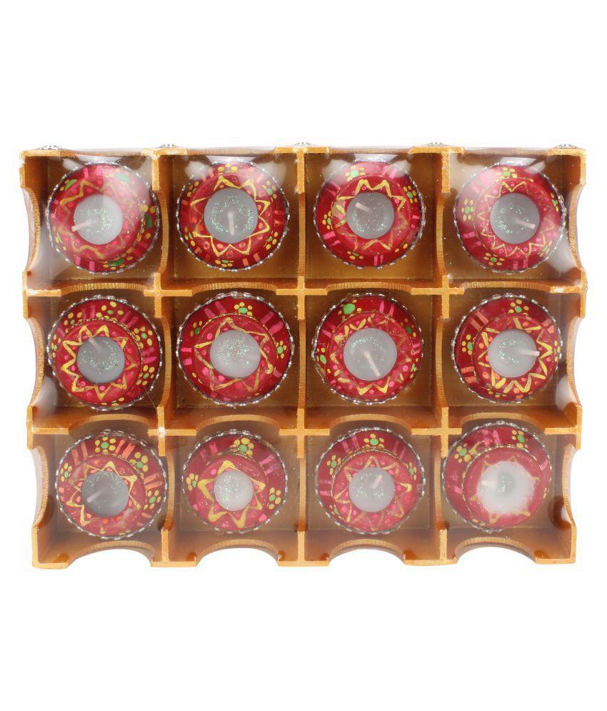 Kritimaa Multicolour Wax Tea Light - Pack of 12