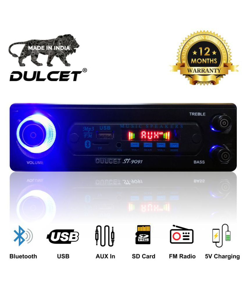 Dulcet DC-ST-9091 Double IC High Power Universal Fit Mp3 Car Stereo with Bluetooth/USB/FM/AUX/MMC/Remote & Built-in Equalizer with Bass & Treble Control [Includes a Free 3.5mm Aux Cable]