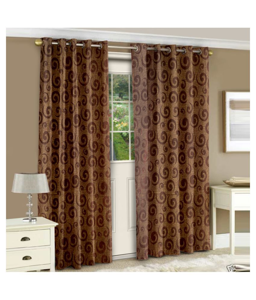 Story@Home Set of 2 Door Eyelet Polyester Curtains Brown