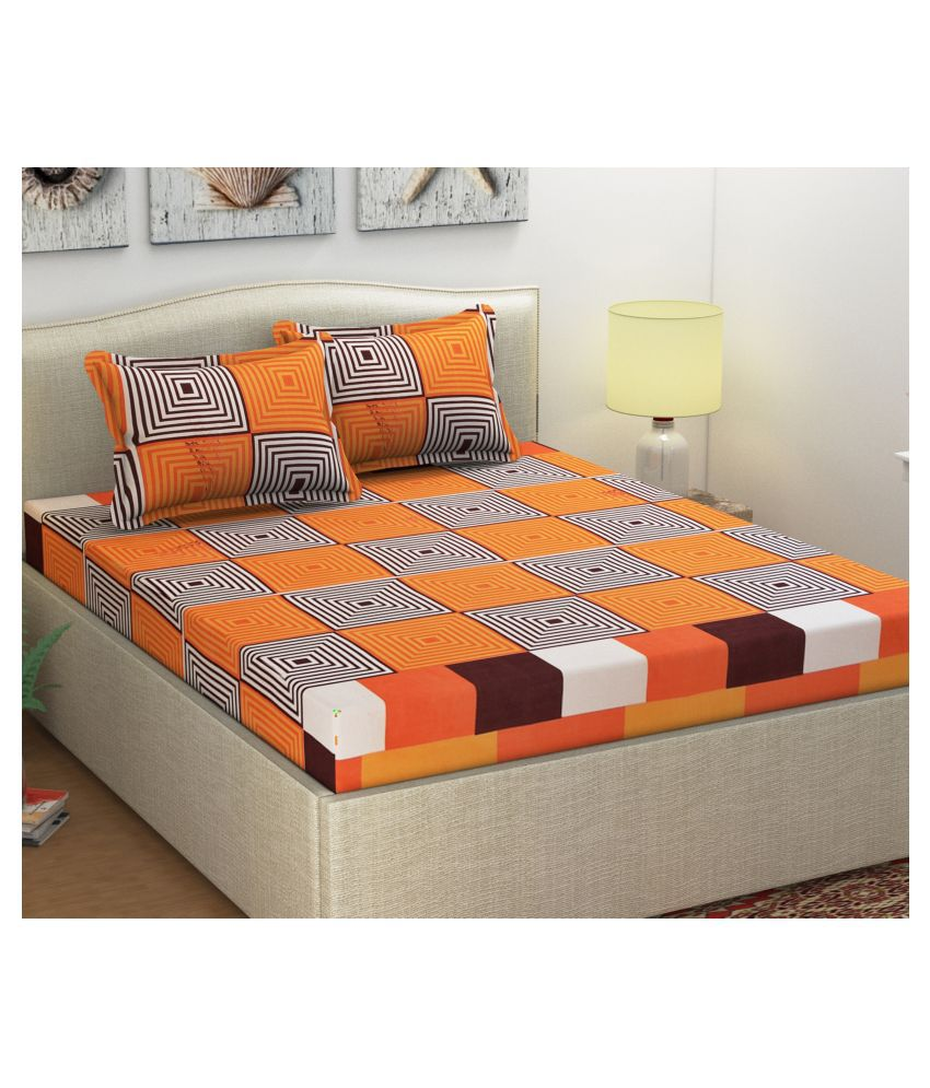 Shipna Microfibre Double Bedsheet with 2 Pillow Covers