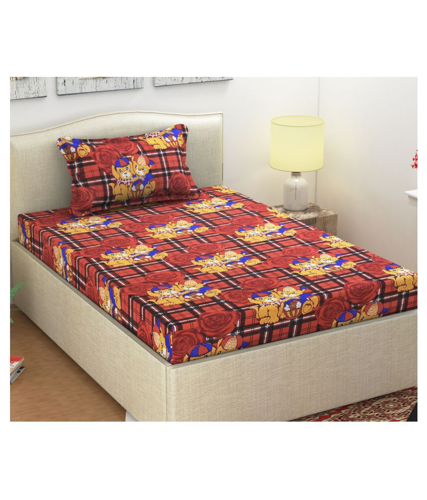 Shipna Microfibre Single Bedsheet with 1 Pillow Cover