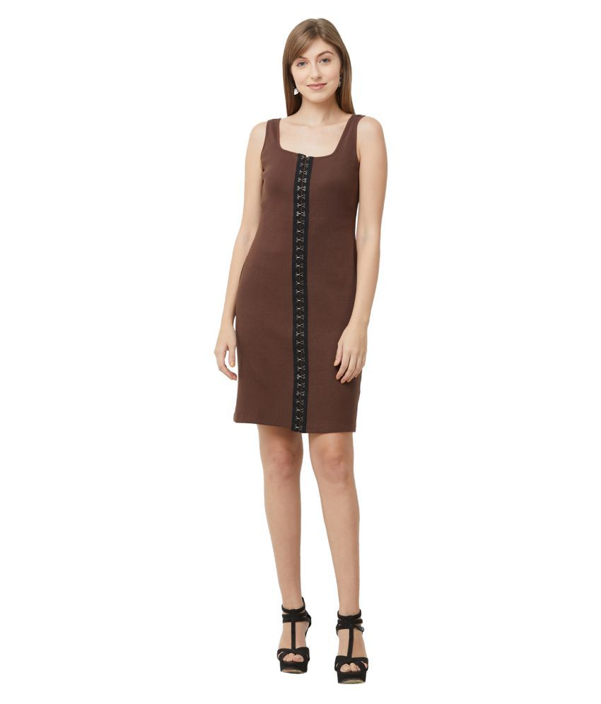 109 F Cotton Brown Fit And Flare Dress