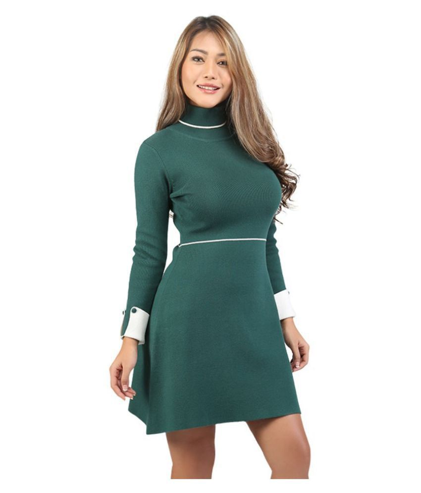 London Rag Viscose Green A- line Dress