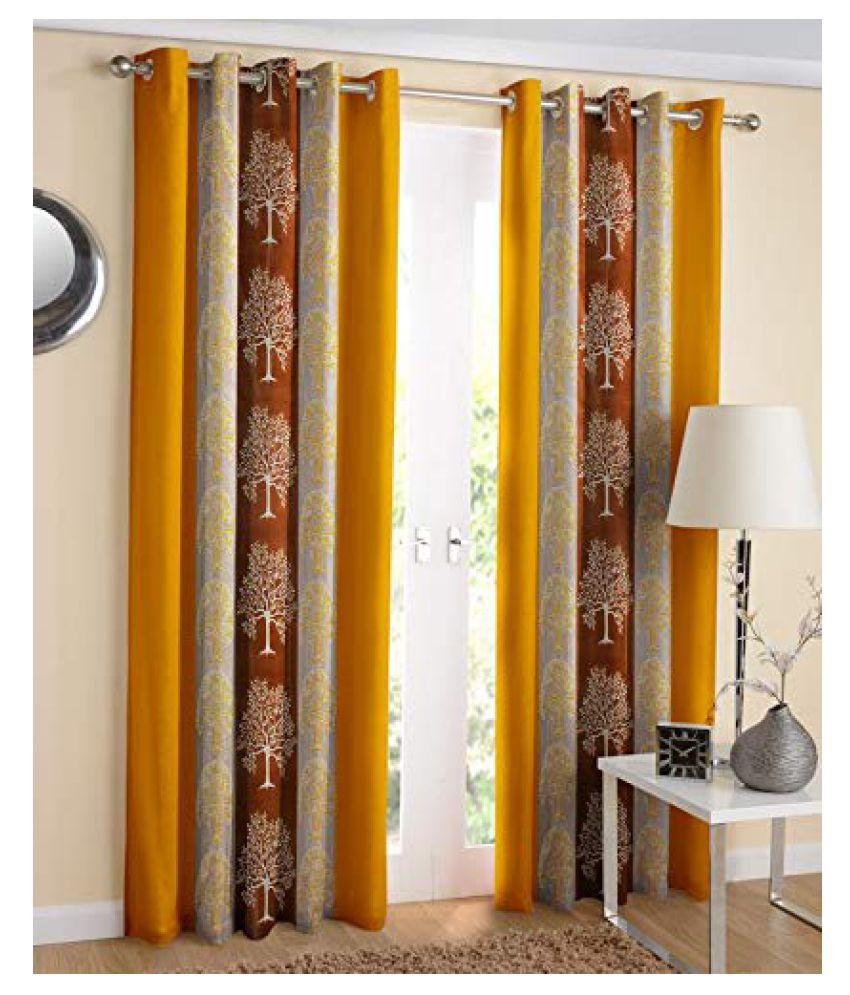 WACO CREATION Set of 2 Door Semi-Transparent Eyelet Polyester Curtains Yellow