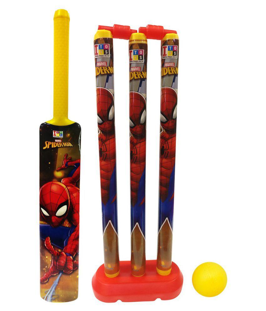 crazy toys  Group Marvel Spiderman Cricket Set for Kids, Medium (Multicolour)