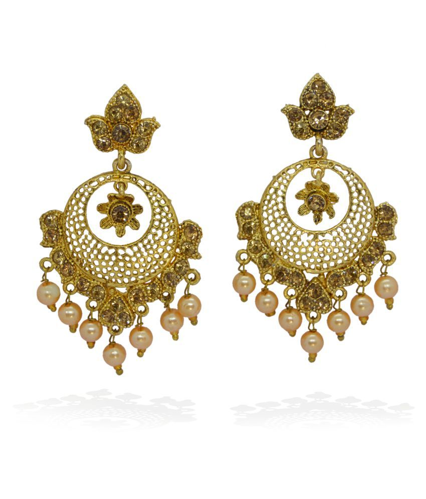 j. j. jewellers Traditional Gold Plated Jhumki Earrings for Women and Girls