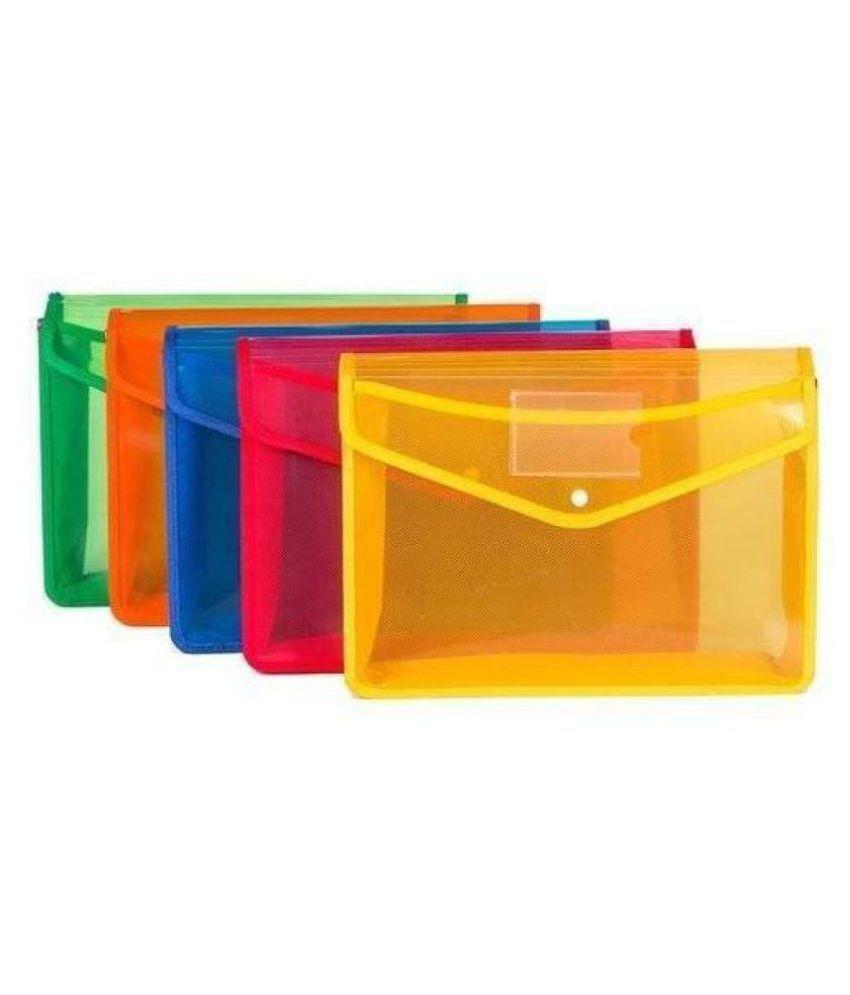 JARANI 5 Pcs A4 Document Folder/snap Button Organizer/Certificate Holder/Multi-Color