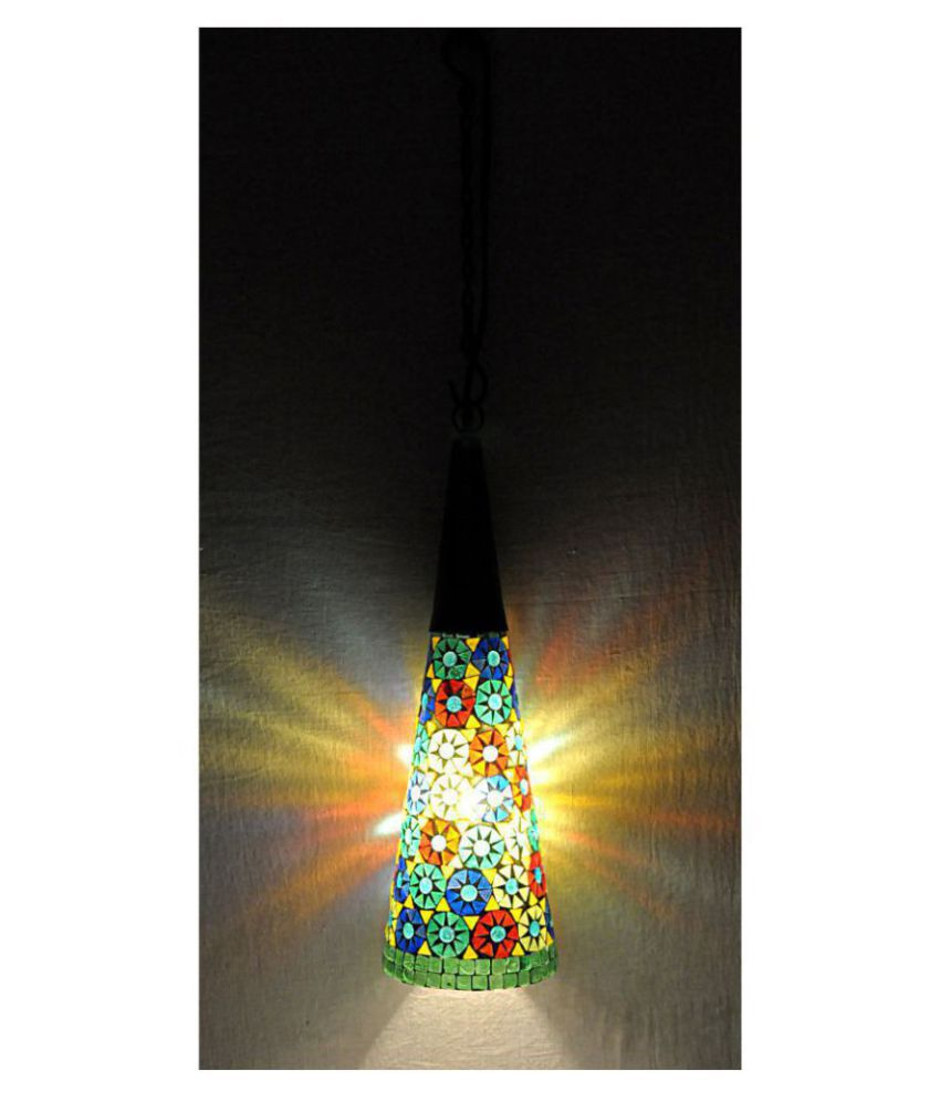 Lal Haveli Glass Home Decoration Glass Indoor Hanging Lamp Pendant Multi - Pack of 1
