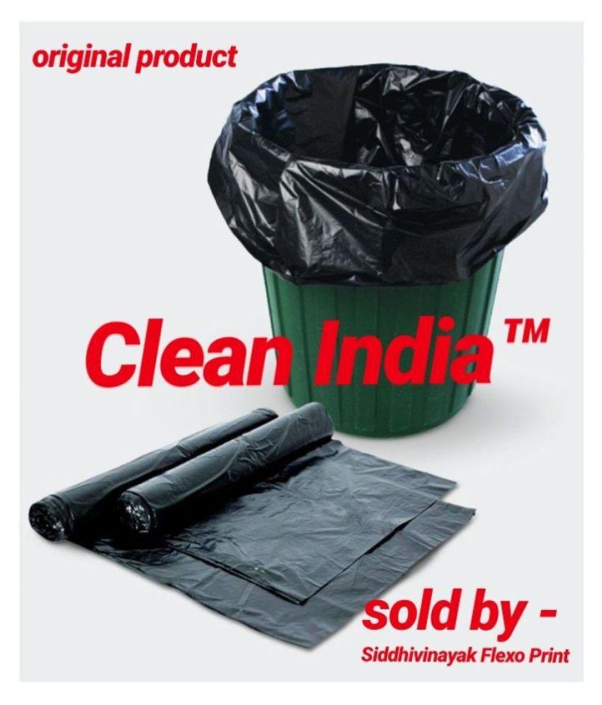 Clean India-  Medium 60 pcs Garbage Bags - 2 packs of 30 Pcs - 60 pcs - 19X21 Black Medium Disposable Garbage Trash Waste Dustbin Kitchen Bags & Covers