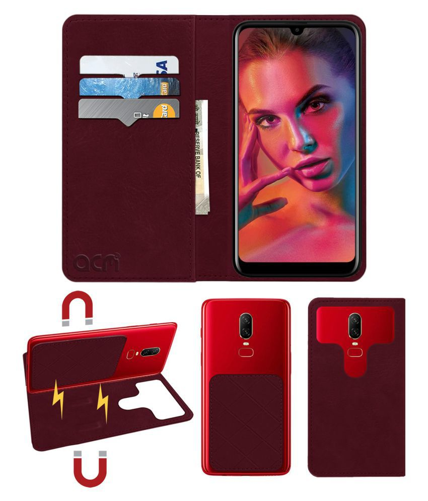 Gionee F10 Flip Cover by ACM - Red 2 in 1 Detachable Case