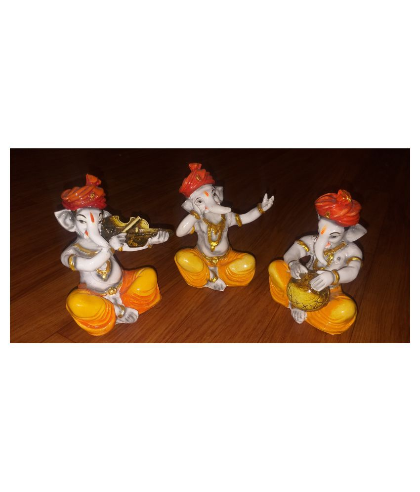 ANITHA DECORS Acrylic MUSICAL DOLL GANESHA SET OF 3 Wall Sculpture Assorted - Pack of 1