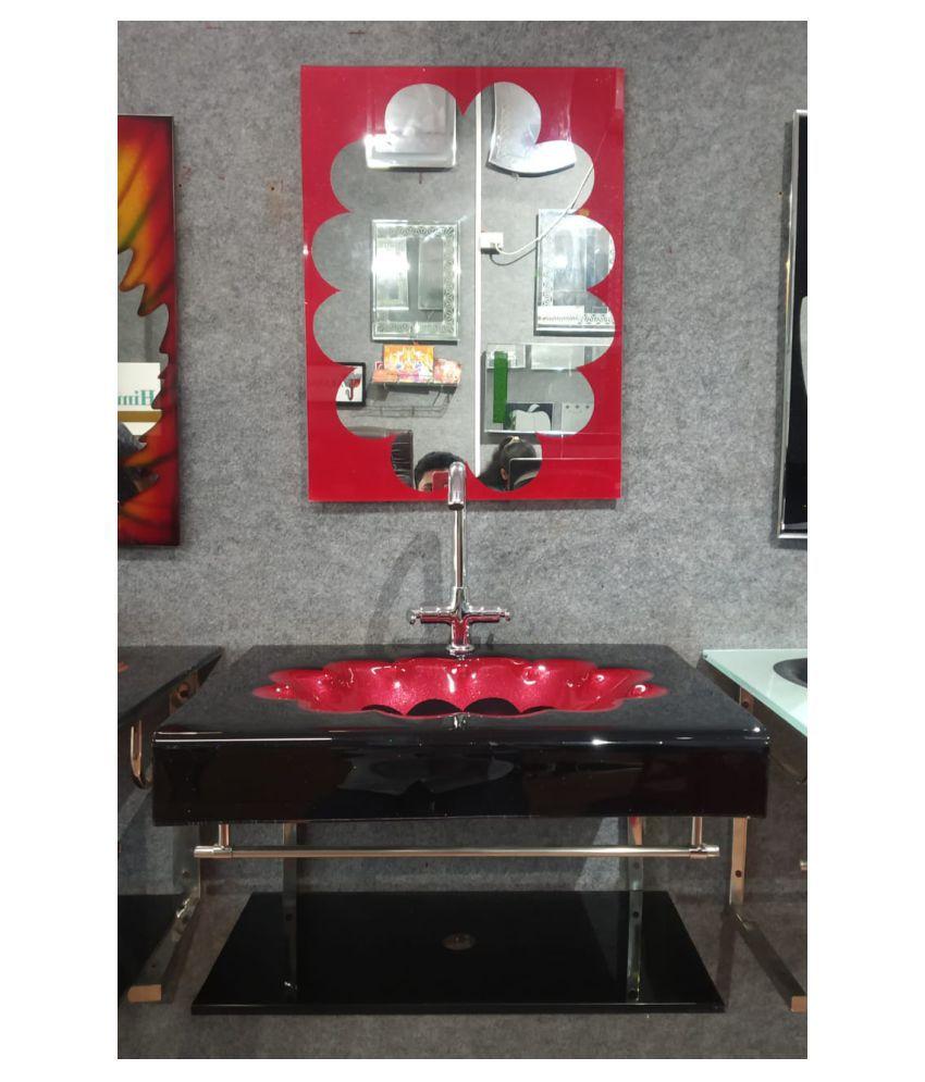 ARVIND SANITARY PVT LTD Red Toughened Glass Wall Hung Wash Basins
