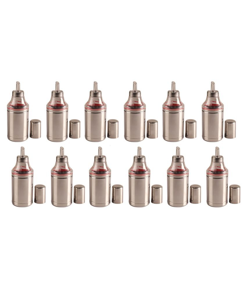 Dynore Set of 12, 500 ml Steel Oil Container/Dispenser Set of 12 500 mL