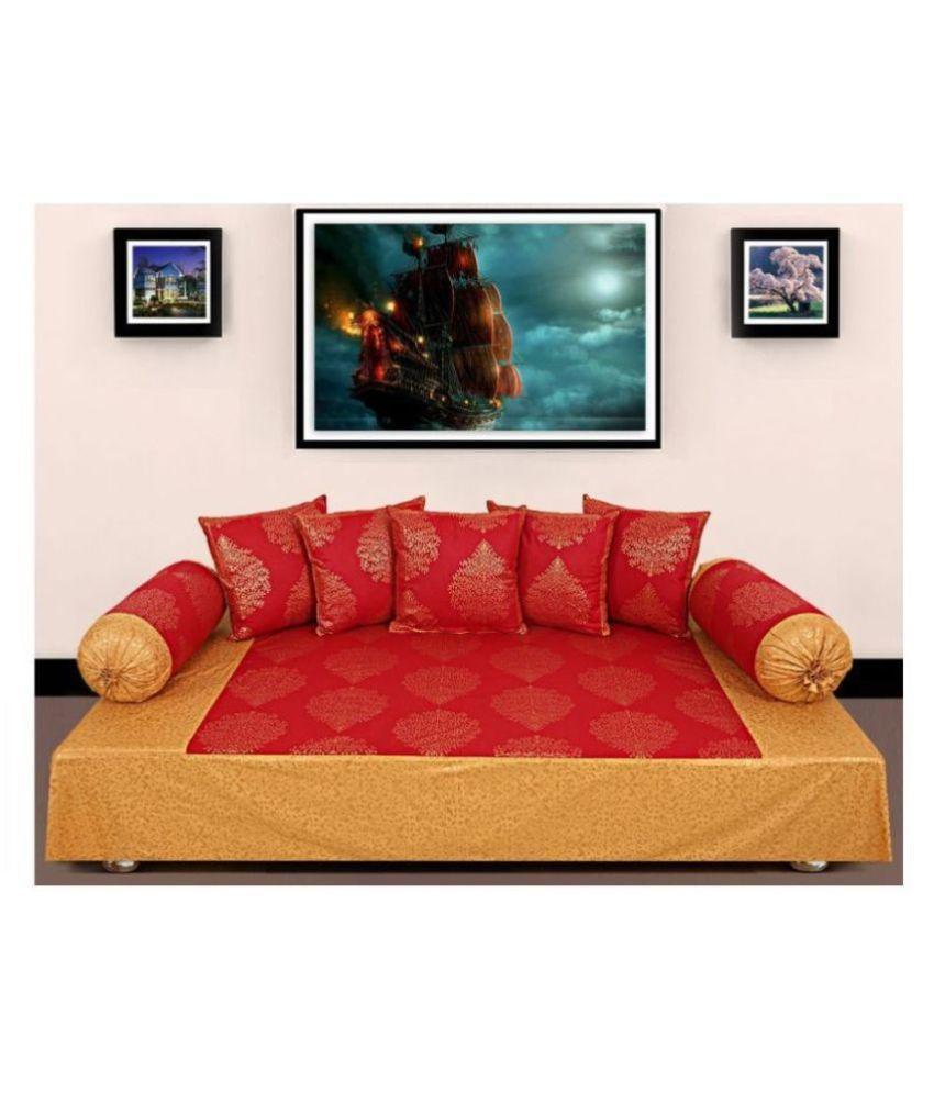 Jai Siyaram Printers Cotton Red Abstract Diwan Set 8 Pcs