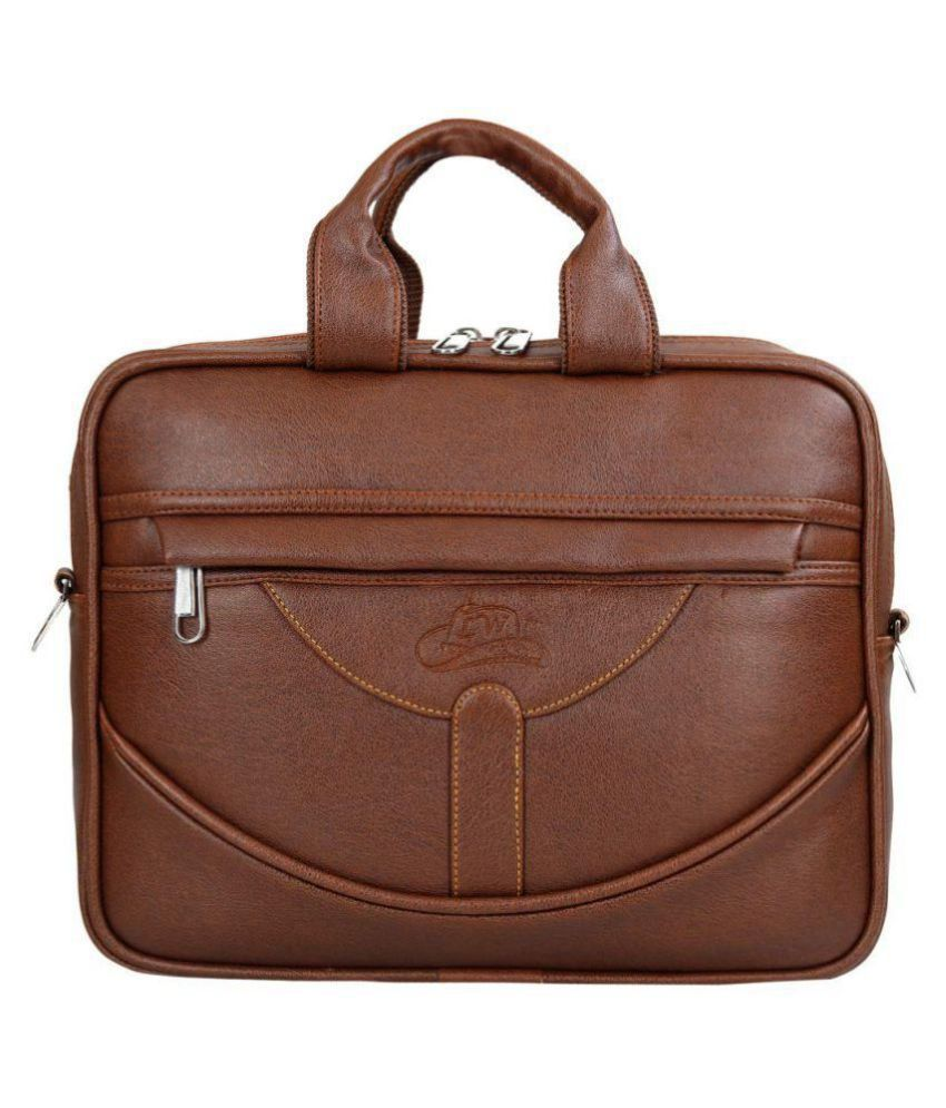 Leather World up to 14 inch Tan P.U. 15 Ltrs Laptop Office Bag